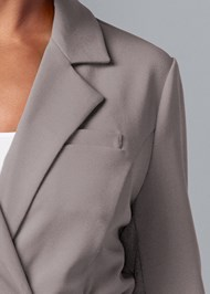 Detail front view Belted Longline Blazer