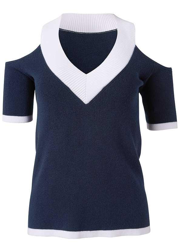 V-Neck Cold Shoulder Sweater,Frayed Cut Off Jean Shorts,Mid Rise Color Skinny Jeans