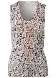 Front View Snake Print Sweater Tank
