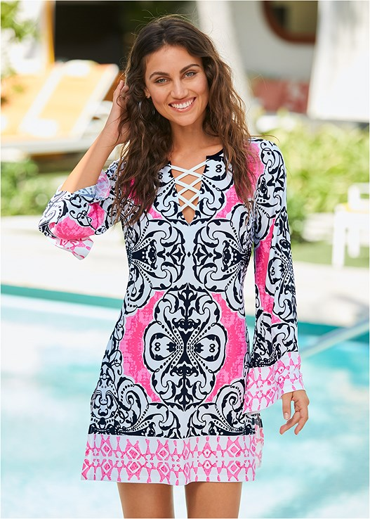 PRINTED COVER-UP DRESS,TRIANGLE BIKINI TOP,SCOOP FRONT BIKINI BOTTOM
