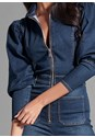 Alternate View Denim Puff Sleeve Jumpsuit