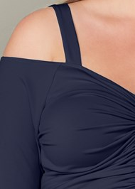 Alternate View Cold Shoulder Ruched Top