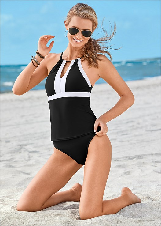 HIGH NECK V-NECK TANKINI,MID RISE BOTTOM,BRAIDED HIGH WAIST BOTTOM,RUCHED HIGH WAIST BOTTOM