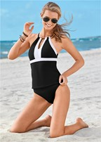high neck v neck tankini