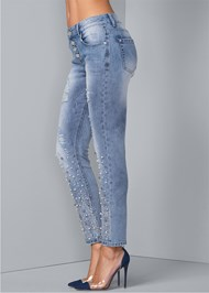Waist down side view Embellished Ripped Jeans