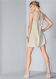 Full back view Lace Detail Linen Dress