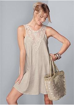lace detail linen dress