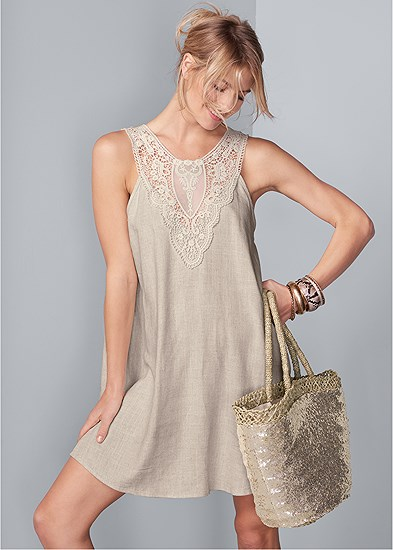 Lace Detail Linen Dress