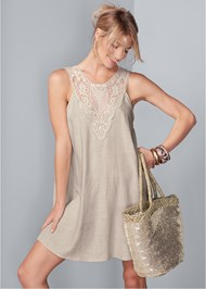 Cropped front view Lace Detail Linen Dress