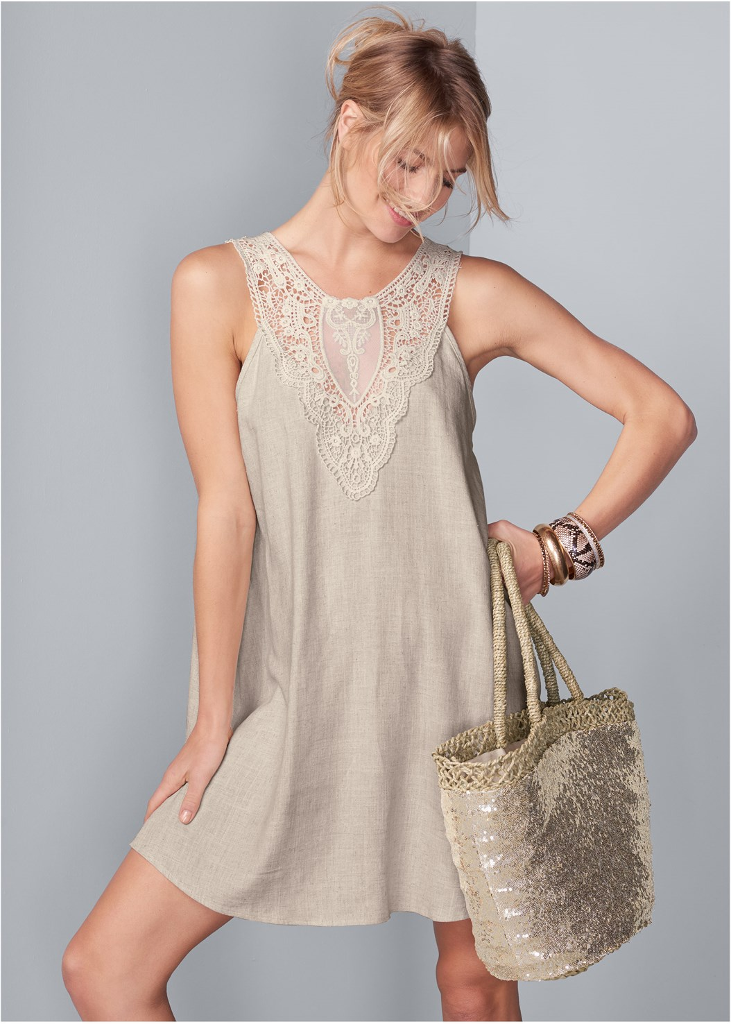 Lace Detail Linen Dress,Venus Cupid Bra,Embellished Wedge
