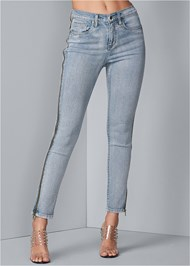 Waist down front view Side Zipper Jeans