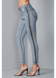 Waist down side view Side Zipper Jeans