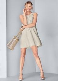 Full front view Lace Detail Linen Dress