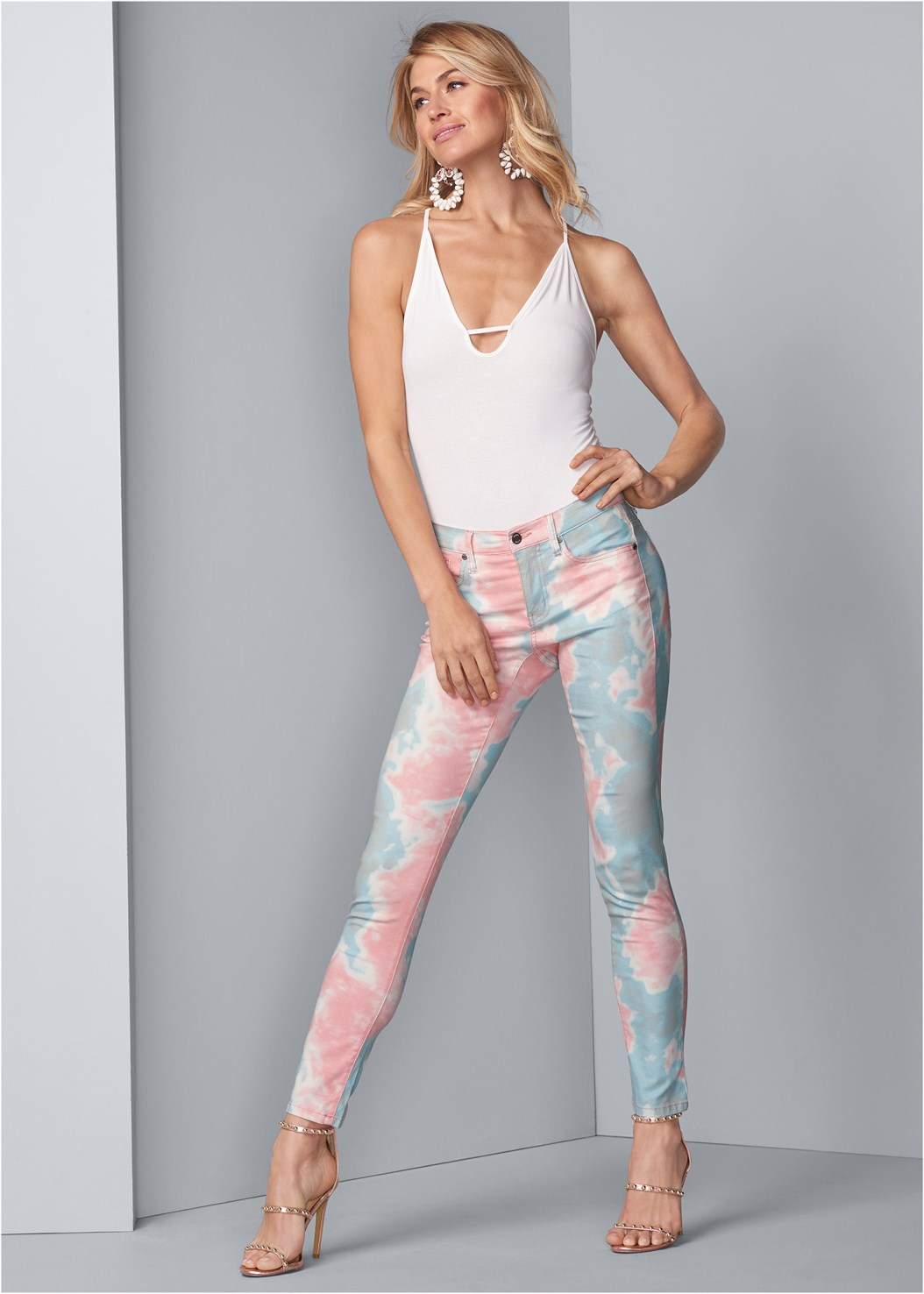 Tie Dye Skinny Jeans,Lift It Up Backless And Strapless Plunge,Studded Strappy Heels,Embellished Lucite Heel,Extreme Flare Jeans