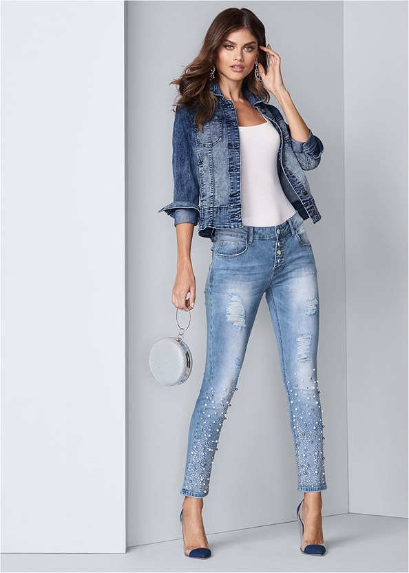 Embellished Ripped Jeans,Square Neck Bodysuit,Jean Jacket,Lucite Detail Heels,Lace Thong 3 For $19,Ring Handle Circle Clutch,Denim Handbag,Reversible Jeans