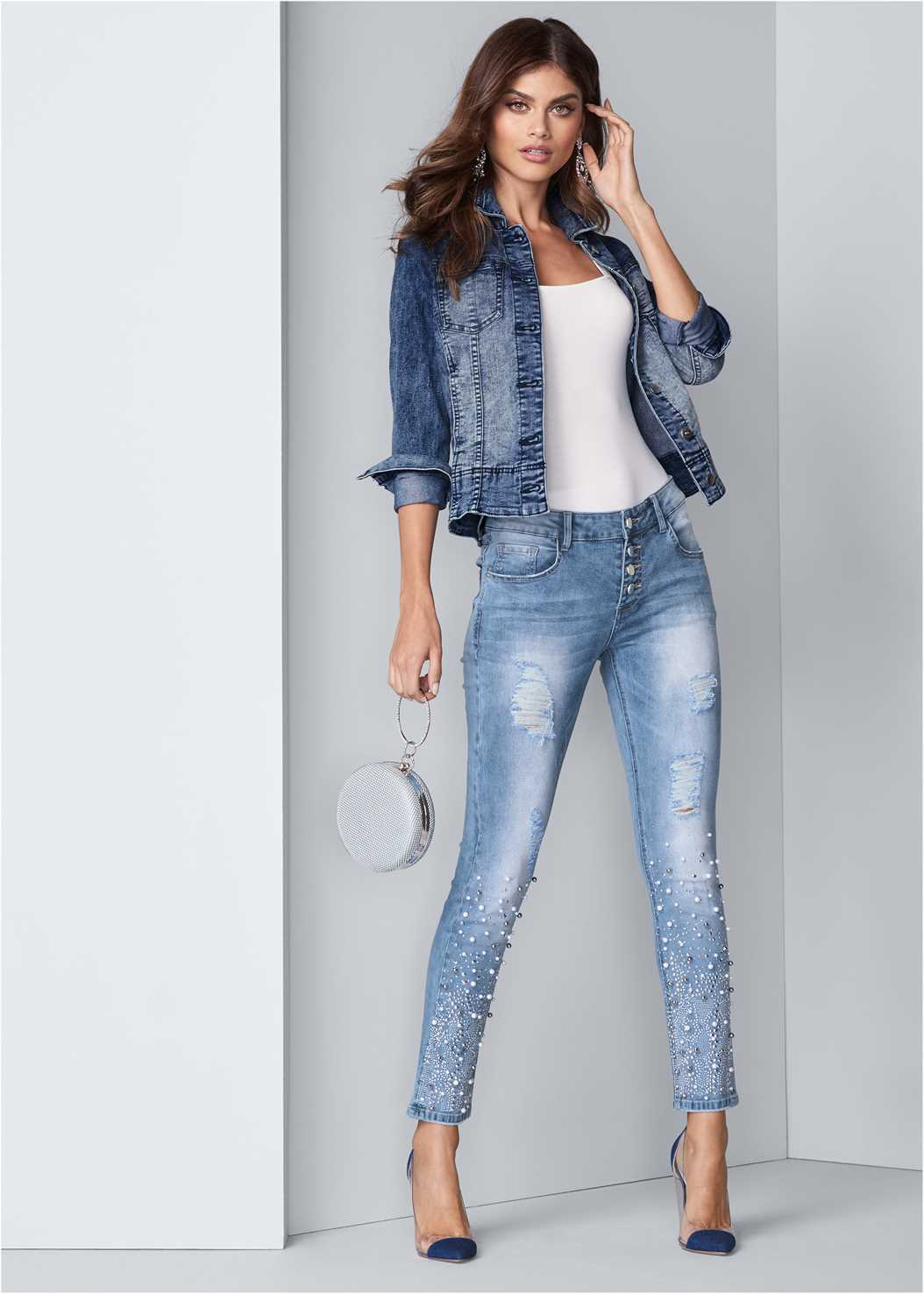 Embellished Ripped Jeans,Square Neck Bodysuit,Jean Jacket,Lucite Detail Heels,Ring Handle Circle Clutch,Reversible Jeans
