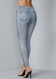 Waist down back view Side Zipper Jeans