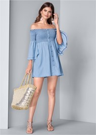Full front view Off Shoulder Chambray Dress
