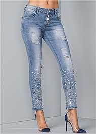 Waist down front view Embellished Ripped Jeans