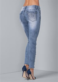 Waist down back view Embellished Ripped Jeans