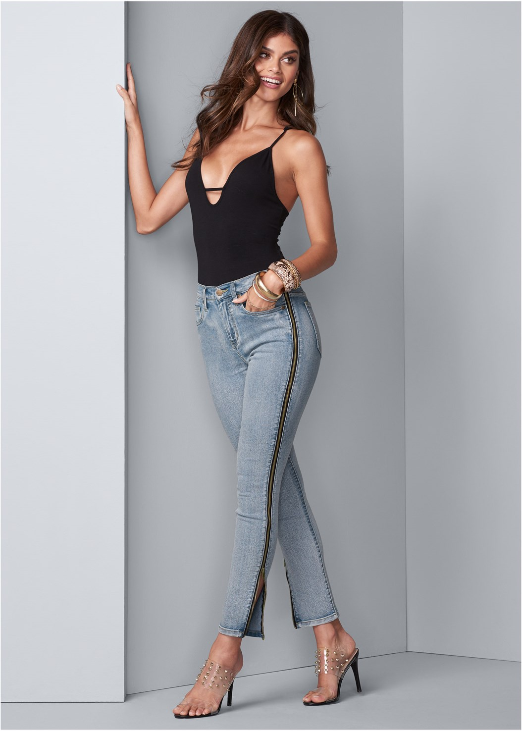 Side Zipper Jeans,Embellished Lucite Heel,Fold Over Boot,Embellished Ripped Jeans