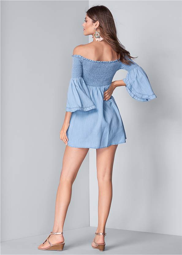 Full back view Off Shoulder Chambray Dress