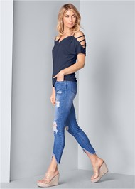 Front View Cold Shoulder Strappy Top
