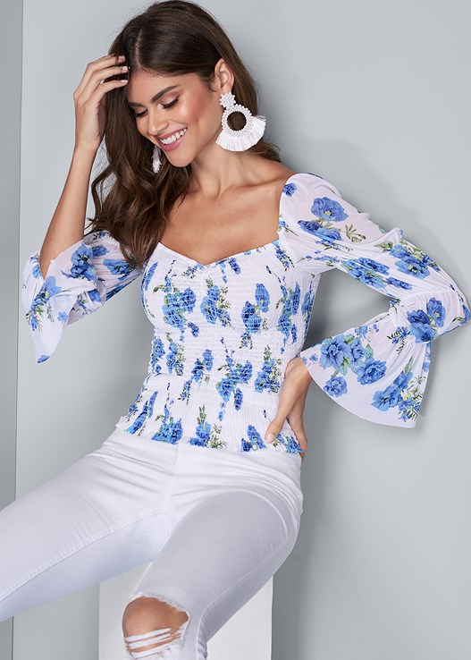 SMOCKED FLORAL PRINT TOP,HIGH RISE RIPPED JEANS,EMBELLISHED LUCITE HEEL