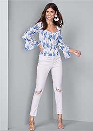 Full front view Smocked Floral Print Top