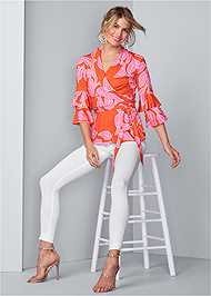 Full front view Floral Wrap Top