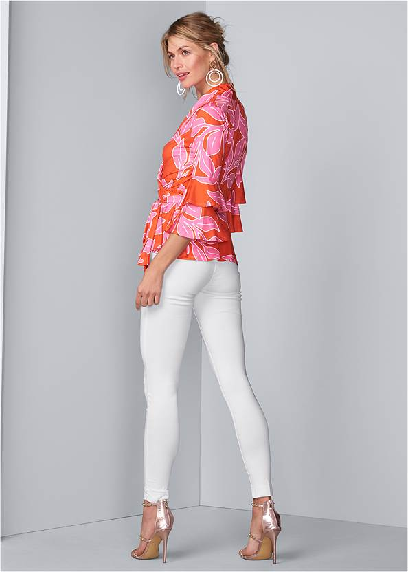 Full back view Floral Wrap Top