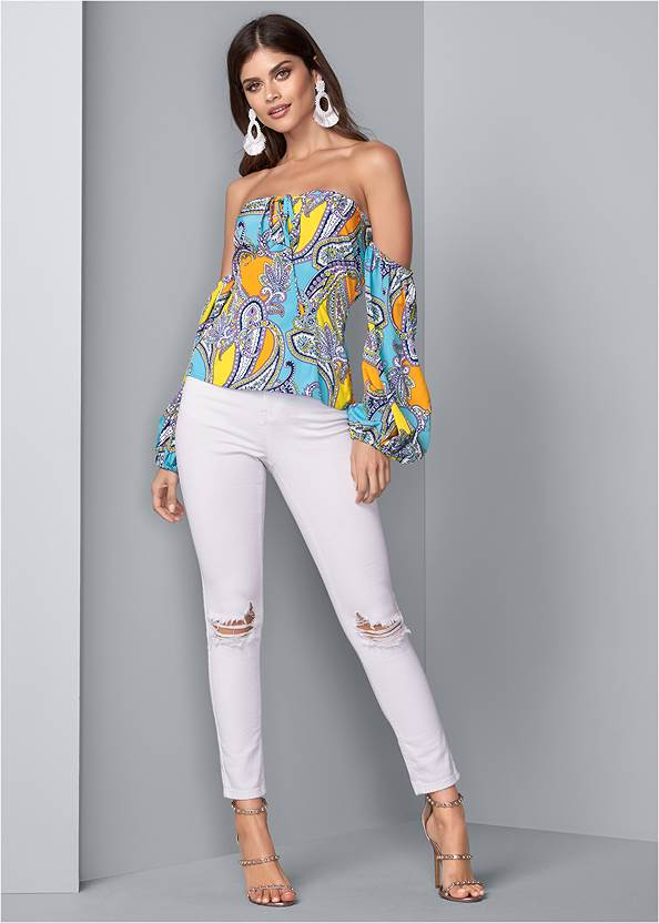 Full front view Off Shoulder Paisley Top