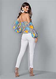 Full back view Off Shoulder Paisley Top