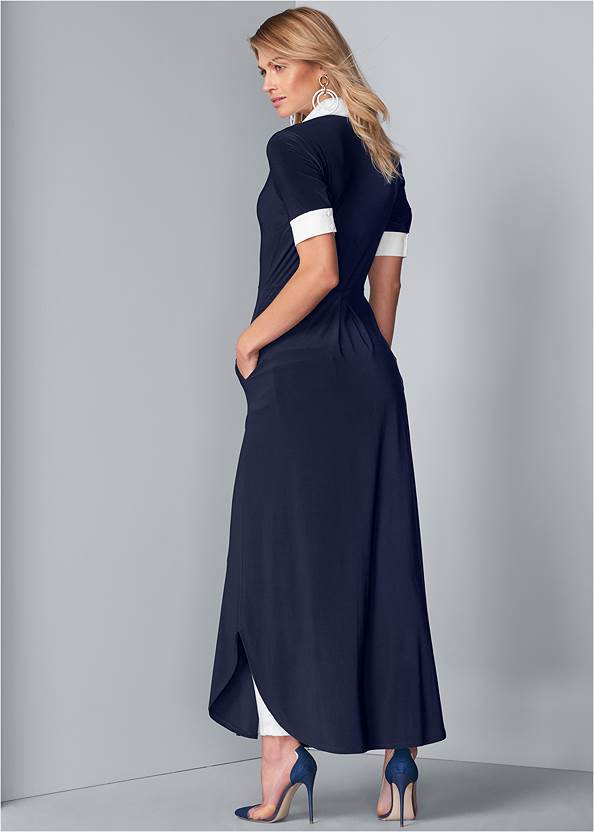 Full back view Collared Maxi Top