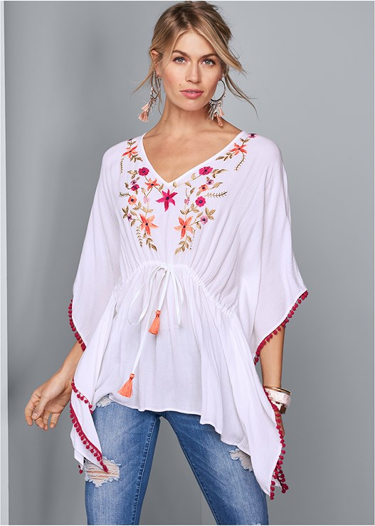 EMBROIDERED PONCHO TOP,TRIANGLE HEM JEANS,NAKED T-SHIRT BRA,EMBELLISHED ROPE SANDALS,MIXED MEDIA BANGLE SET,TASSEL DETAIL HOOP EARRINGS