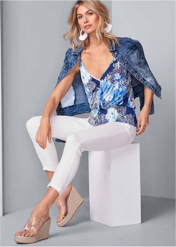 Surplice Paisley Top,Jean Jacket,Mid Rise Color Skinny Jeans,Beaded Tassel Earrings