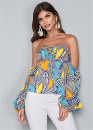 Cropped front view Off Shoulder Paisley Top