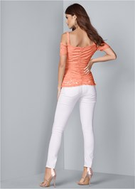 Back View Cold Shoulder Lace Top