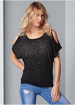 cold shoulder embellished top