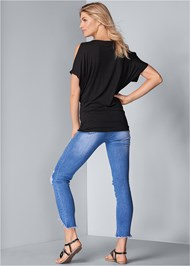 Full back view Cold Shoulder Embellished Top