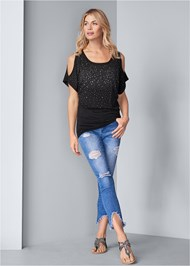 Full front view Cold Shoulder Embellished Top