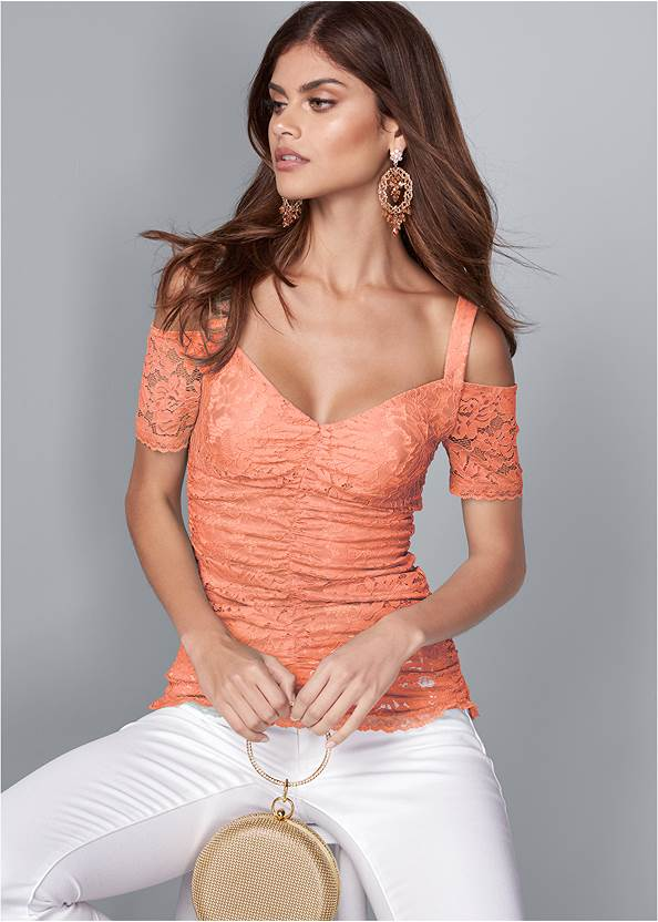 Cropped front view Cold Shoulder Lace Top
