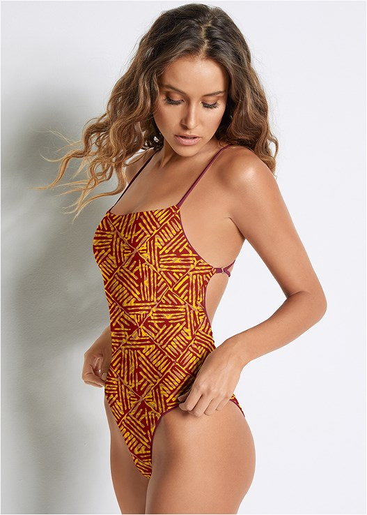 VERSATILITY BY VENUS ™ REVERSIBLE ONE-PIECE,COVER-UP JUMPSUIT,STRAW FRINGE HAT