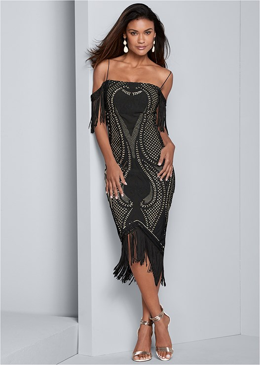 SEQUIN FRINGE BODYCON DRESS