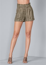 Waist down front view Striped Paperbag Shorts
