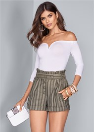 Cropped front view Striped Paperbag Shorts