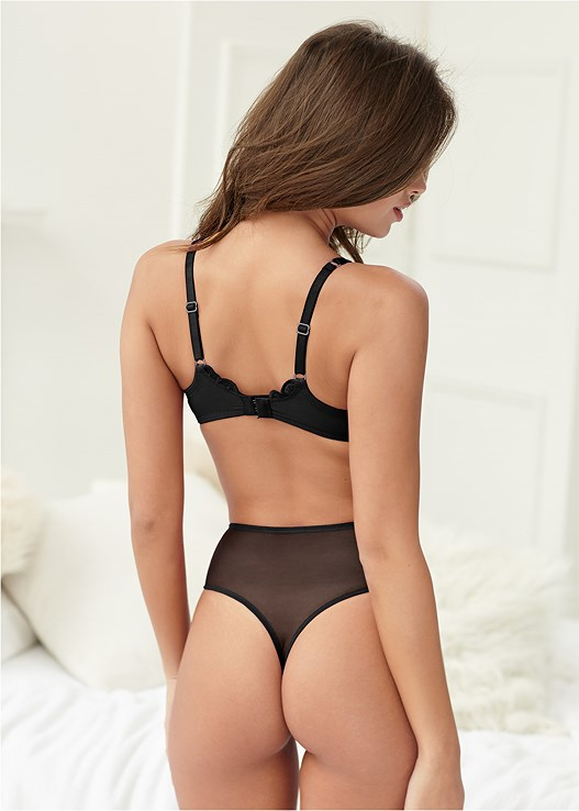 HIGH WAIST THONG,PLUNGE PUSH UP BRA