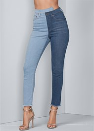 Waist down front view Duo Tone Jeans