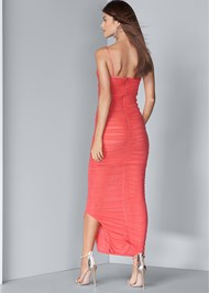 Full back view Ruched Bodycon  Side Slit Maxi Dress