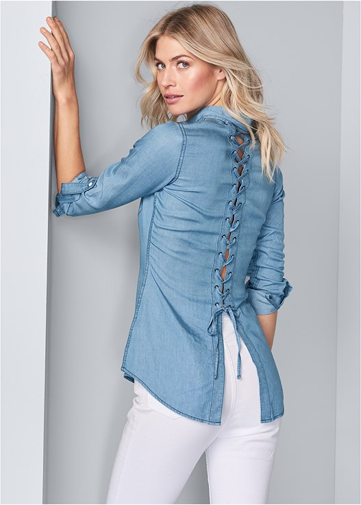 LACE BACK CHAMBRAY TOP,HIGH RISE RIPPED JEANS,VENUS CUPID BRA